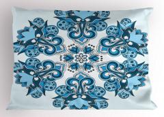Mavi Etnik Çiçek Desenli Yastık Kılıfı Dekoratif