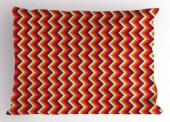 Turuncu Zikzak Desenli Yastık Kılıfı Dekoratif Şık