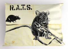 Silahlı Sıçan ve Fare Yastık Kılıfı Sarı Siyah