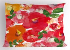 Sulu Boya Çiçekler Yastık Kılıfı Kırmızı Turuncu Sarı