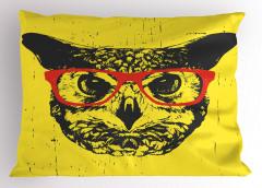 Kırmızı Gözlüklü Kedi Yastık Kılıfı Sarı Dekoratif