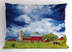 Amerikan Çiftliği Yastık Kılıfı Bulutlu Gökyüzü Ağaç