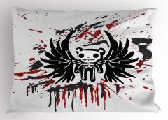 Kuru Kafa Teddy Desenli Yastık Kılıfı Siyah Kırmızı