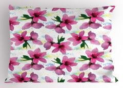 Pembe Kiraz Çiçeği Desenli Yastık Kılıfı Çeyizlik Şık