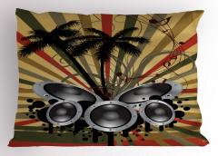 Müzik ve Palmiyeler Yastık Kılıfı Dekoratif Şık Trend