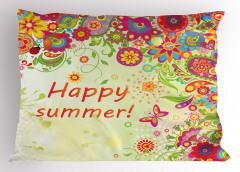Gökkuşağı Çiçek ve Kelebek Yastık Kılıfı Şal Desenli