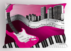 Şehrin Melodisi Desenli Yastık Kılıfı Gitar Nota Şık
