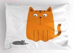 Sevimli Kedi ve Fare Yastık Kılıfı Dekoratif Trend