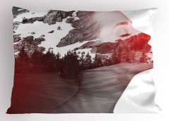 Doğa ve Kadın Yastık Kılıfı Karlı Dağlar ve Ağaçlar