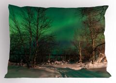 Orman ve Kuzey Işıkları Yastık Kılıfı Yeşil Gökyüzü