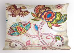 Dekoratif Çiçek ve Kuş Yastık Kılıfı Şal Desenli