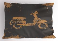 Nostaljik Motosiklet Yastık Kılıfı Siyah Şık