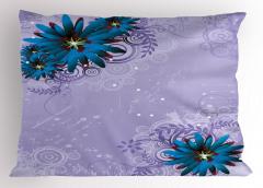 Mavi Mor Çiçek Desenli Yastık Kılıfı Şık Tasarım