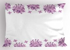 Leylak Çiçekleri Desenli Yastık Kılıfı Lila Beyaz Şık