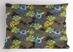 Nostaljik Çiçek Desenli Yastık Kılıfı Sarı Mavi Şık
