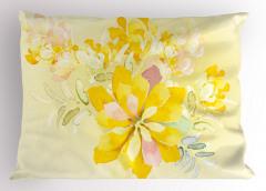 Sarı Sulu Boya Çiçekler Yastık Kılıfı Dekoratif