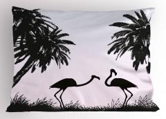 Siyah Beyaz Flamingo Desenli Yastık Kılıfı Şık Tasarım