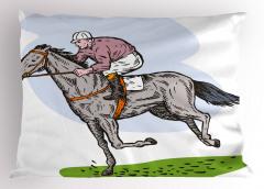 At Yarışı Desenli Yastık Kılıfı Beyaz Fonlu Trend