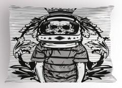 Kuru Kafa Astronot Yastık Kılıfı Siyah Beyaz Gri