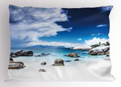 Beyaz Kumlu Cennet Plajı Yastık Kılıfı Mavi Gökyüzü