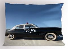 Nostaljik Polis Arabası Yastık Kılıfı Siyah Beyaz