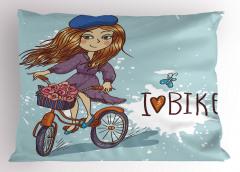 Bisiklete Binen Kız Yastık Kılıfı Çiçekler