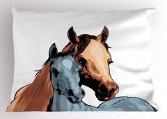 Anne At ve Tayı Yastık Kılıfı Dekoratif