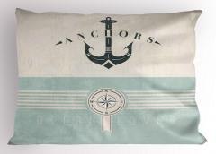 Denizcilik Temalı Yastık Kılıfı Nostaljik Mavi Bej