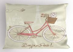 Pembe Bisiklet ve Köpek Yastık Kılıfı Paris