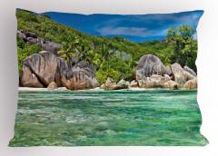 Tropik Kayalık Sahil Yastık Kılıfı Dekoratif