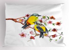 Sarı Karınlı Kuşlar Yastık Kılıfı Sevimli