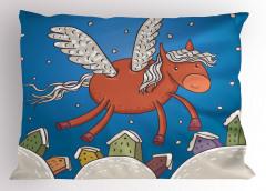 Kanatlı At ve Binalar Yastık Kılıfı Mavi Gökyüzü