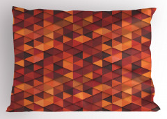 Kırmızı Turuncu Üçgen Yastık Kılıfı Dekoratif