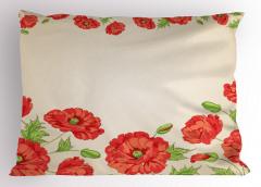 Pembe Kırmızı Çiçekler Yastık Kılıfı Dekoratif