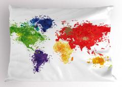 Boyalı Dünya Haritası Yastık Kılıfı Kıtalar
