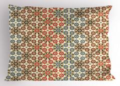 Geometrik Çiçek Desenli Yastık Kılıfı Dekoratif