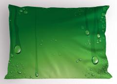 Yeşil Zemin ve Damlalar Yastık Kılıfı Dekoratif