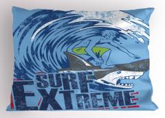 Köpek Balığında Sörf Yastık Kılıfı Dalgalı Deniz
