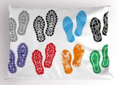 Renkli Ayakkabı İzleri Yastık Kılıfı Şık