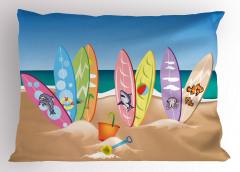 Hayvan Sörf Tahtaları Yastık Kılıfı Kumsal