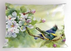 Tepeli Minik Kuşlar Yastık Kılıfı Meyve Çiçekleri