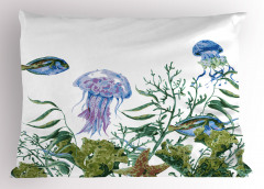 Denizanası ve Balıklar Yastık Kılıfı Yosunlar