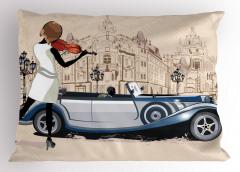 Keman Çalan Kız Desenli Yastık Kılıfı Klasik Otomobil