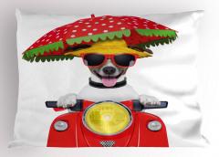Motosikletli Gözlüklü Köpek Yastık Kılıfı Şemsiye