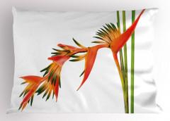 Tropikal Çiçek Desenli Yastık Kılıfı Turuncu Şık