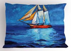 Denizdeki Yelkenli Gemi Yastık Kılıfı Yağlı Boya Mavi