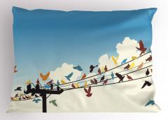 Telgraf Telindeki Rengarenk Kuşlar Yastık Kılıfı Şık