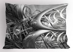 Gri Fütüristik Desenli Yastık Kılıfı 3D Etkili