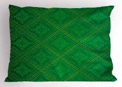 Yeşil Duvar Kağıdı Desenli Yastık Kılıfı Dekoratif