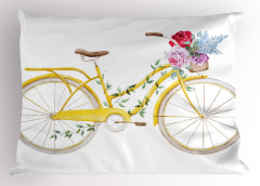Çiçekli Sepetli Sarı Bisiklet Yastık Kılıfı Dekoratif
